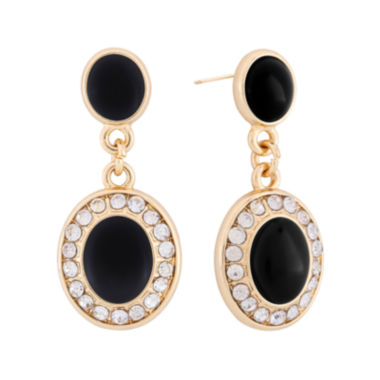 jcpenney.com | Monet® Black and Gold-Tone Double Drop Earrings
