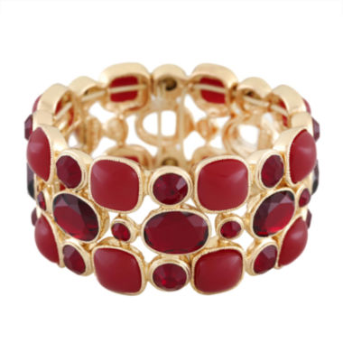 jcpenney.com | Monet® Red and Gold-Tone Stretch Bracelet