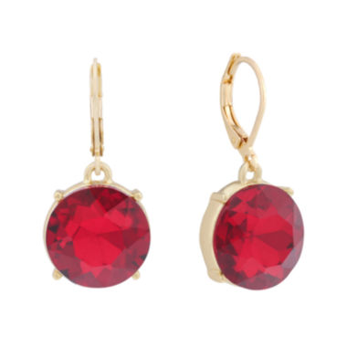 jcpenney.com | Monet® Red Glass Gold-Tone Drop Earrings
