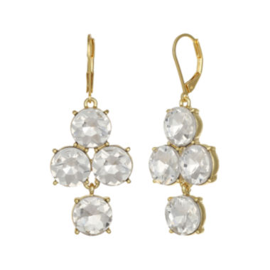 jcpenney.com | Monet® Clear Glass Gold-Tone Chandelier Earrings