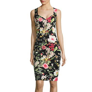 Bisou Bisou Sleeveless Floral Illusion Bodycon Dress