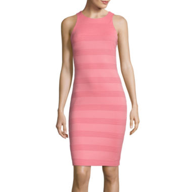 jcpenney.com | Bisou Bisou® Halter-Neck Textured-Stripe Bodycon Dress