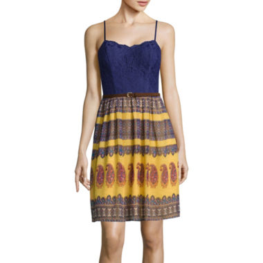 jcpenney.com | City Triangles® Spaghetti-Strap Lace-Bust Chiffon Print Dress- Juniors