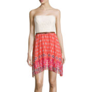 City Triangles® Strapless Lace-Bust Chiffon Belted Dress