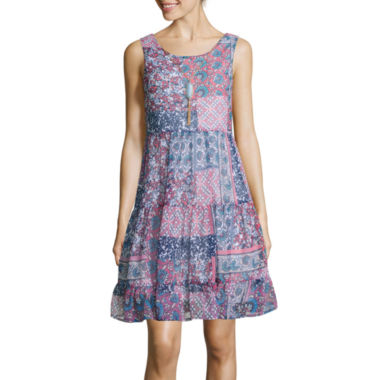 jcpenney.com | Love Reigns Sleeveless Chiffon Babydoll Dress with Necklace- Juniors
