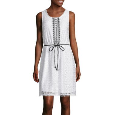 jcpenney.com | Trixxi® Sleeveless Belted Lace Blouson Dress