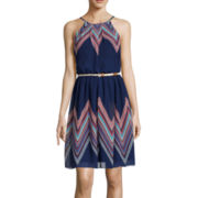 by&by Spaghetti Strap Pleat Neck Belted Dress