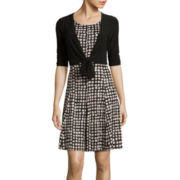 Perceptions 3/4-Sleeve Dot Print Tie Front Jacket Dress