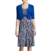 Perceptions 3/4-Sleeve Paisley High Buckle Jacket Dress
