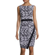 London Style Collection Sleeveless Abstract-Print Sheath Dress
