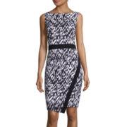 London Style Collection Sleeveless Abstract-Print Sheath Dress
