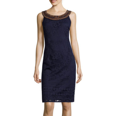 jcpenney.com | Studio 1® Sleeveless Wood Necklace Trim Lace Sheath Dress