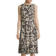 Perceptions Sleeveless Ikat Print Ruched Waist A-Line Dress