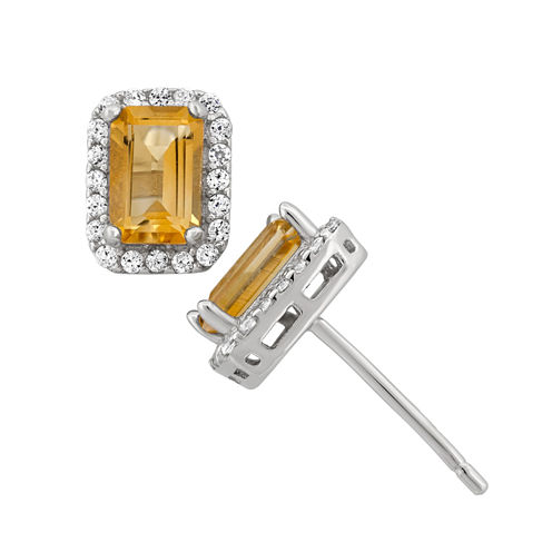 Genuine Citrine Sterling Silver Earrings
