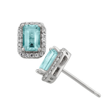 jcpenney.com | Simulated Aquamarine Sterling Silver Earrings
