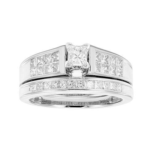 1 CT. T.W. Certified Diamond 14K White Gold Bridal Set