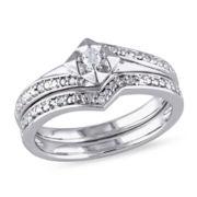 1/10 CT. T.W. Diamond Sterling Silver  Art Deco Style Bridal Set