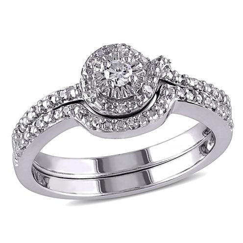 1/7 Ct. T.W. Diamond Sterling Silver Halo Bridal Set