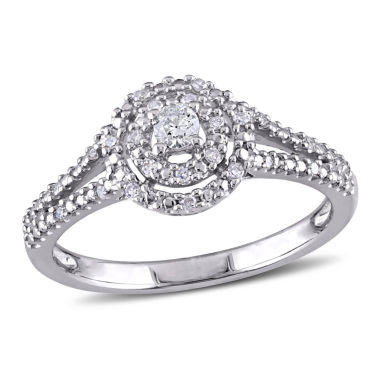 jcpenney.com | 1/5 CT. T.W. Diamond Halo Sterling Silver Engagement Ring
