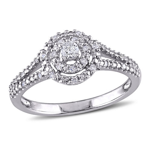 1/5 CT. T.W. Diamond Halo Sterling Silver Engagement Ring