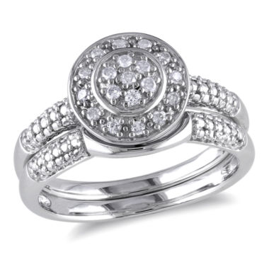 jcpenney.com | 1/7 CT. T.W. Diamond Halo Sterling Silver Bridal Set