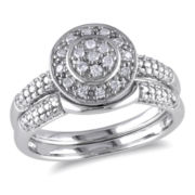 1/7 CT. T.W. Diamond Halo Sterling Silver Bridal Set