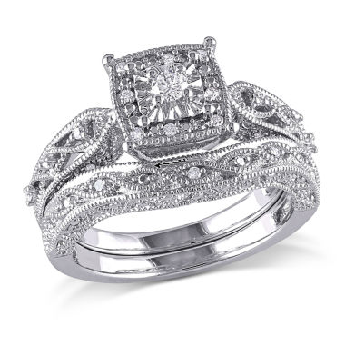 jcpenney.com | 1/5 CT. T.W. Diamond Sterling Silver Vintage Style Bridal Set