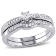 1/5 CT. T.W. Diamond Sterling Silver Bridal Set