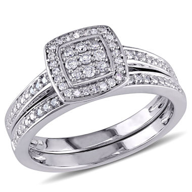 jcpenney.com | 1/4 CT. T.W. Diamond Sterling Silver Bridal Set