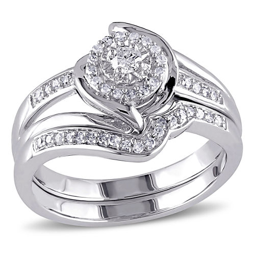 1/4 CT. T.W. Diamond Halo Sterling Silver Bridal Set