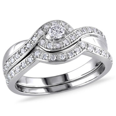 jcpenney.com | 1/3 CT. T.W. Diamond Sterling Silver Bypass Style Bridal Set
