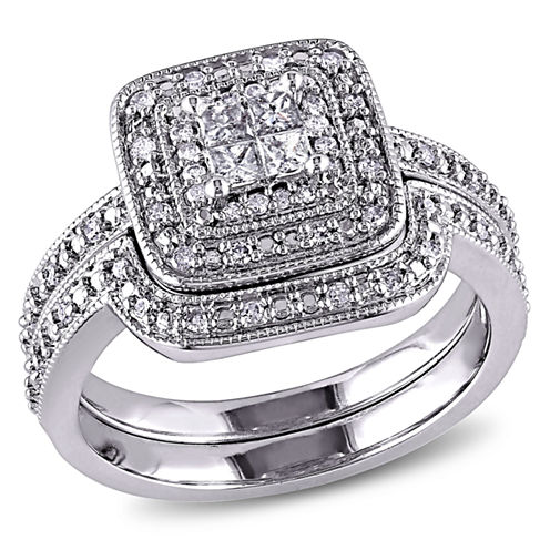 1/3 CT. T.W. Diamond Sterling Silver Art Deco Style Bridal Set
