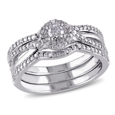 jcpenney.com | 1/3 CT. T.W. Diamond Sterling Silver  Halo Bridal Set