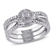 1/3 CT. T.W. Diamond Sterling Silver  Halo Bridal Set