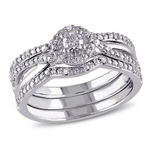 1/3 CT. T.W. Diamond Sterling Silver  Halo Bridal Set