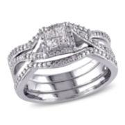 1/3 CT. T.W. Diamond Sterling Silver Bridal Set