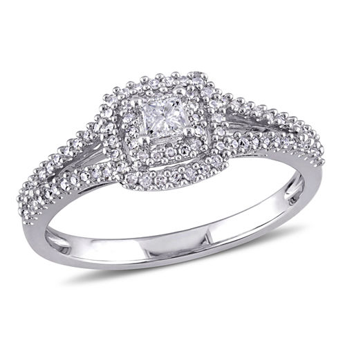 3/8 CT. T.W. Diamond Sterling Silver Halo Engagement Ring