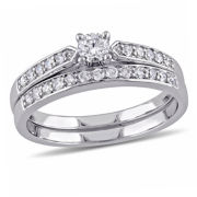 1/2 CT. T.W. Diamond Sterling Silver Bridal Set