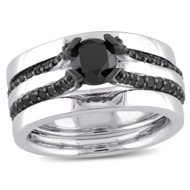 jcpenney.com | Midnight Black Diamond 1 3/4 CT. T.W. Color-Enhanced Black Diamond Sterling Silver Contemporary Bridal Set