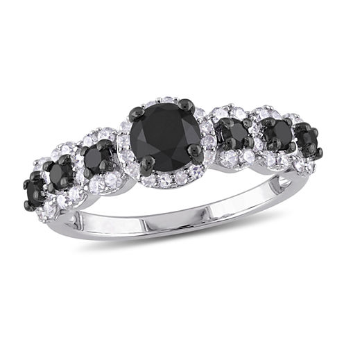 Midnight Black Diamond 1 1/2 CT. T.W. Color-Enhanced Black & White Diamond Sterling Silver Vintage Style Engagement Ring