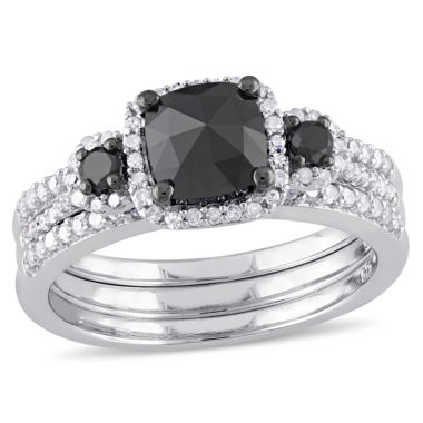 jcpenney.com | Midnight Black Diamond 1 3/4 CT. T.W. Color-Enhanced Black & White Diamond Sterling Silver Bridal Set