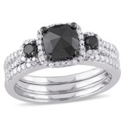 Midnight Black Diamond 1 3/4 CT. T.W. Color-Enhanced Black & White Diamond Sterling Silver Bridal Set
