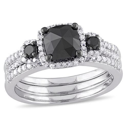 Midnight Black Diamond 1 3/4 CT. T.W. Color-Enhanced Black & White Diamond Sterling Silver Bridal Set