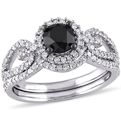 Midnight Black Diamond 1 1/2 CT. T.W. Color-Enhanced Black & White Diamond 10K White Gold Bridal Set