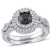 Midnight Black Diamond 1 1/2 CT. T.W. Black & White Diamond Halo 10K White Gold Bridal Set