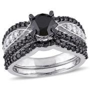Midnight Black Diamond 2 CT. T.W. Color-Enhanced Black & White Diamond 10K White Gold Bridal Set
