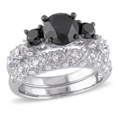 jcpenney.com | Midnight Black Diamond 3 CT. T.W. Color-Enhanced Black & White Diamond 10K White Gold Bridal Set