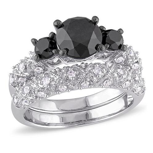 Midnight Black Diamond 3 CT. T.W. Color-Enhanced Black & White Diamond 10K White Gold Bridal Set