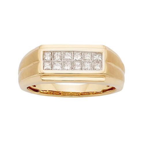Mens 1/2 CT. T.W. Certified Diamond 14K Yellow Gold Wedding Band