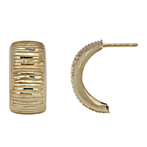 14K Yellow Gold Diamond-Cut C Hoop Earrings